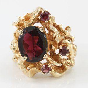 Vintage 14K Gold Nugget Style Garnet Ring